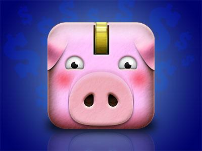 Pink Blushed Pig Icon