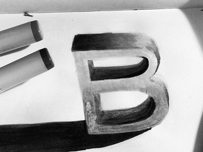 3D letter made with pen markers