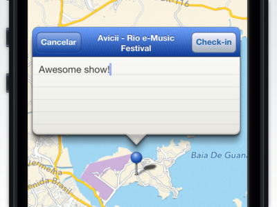 Check-in screen