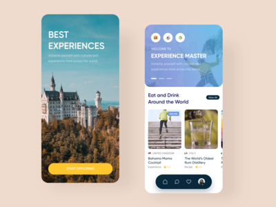 Experience Master explore hotels food sport activities figma world experiences ios app  design design ui mobile app