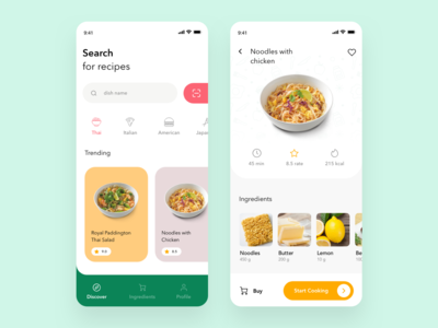 Recipe App Design chef minimal layout cooking dishes ingredients food app mobile app ui recipes food