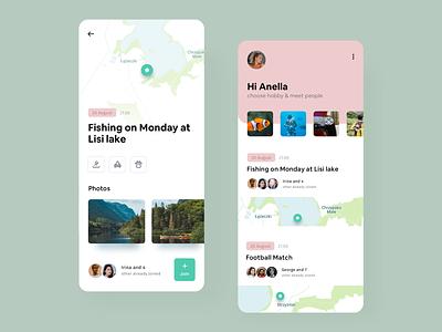 Hobby Network interface fish adventure map hobbies hobby design ui mobile app