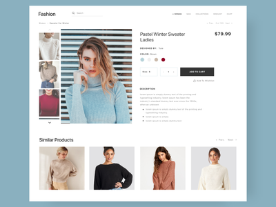 ecommerce product page modern design website webdesign price size description color sweater online seller online store online shop clothes ecommerce product page