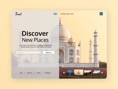 Travel Agency figmadesign taj mahal travel ux design figma website design website concept website web ui