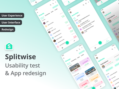 Usability study and redesign of Splitwise app ui app design redesign usability analysis usability usability testing ux