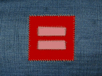 Human Rights Campaign - Marriage Equality Patch adobe photoshop cs3 patch stitch patches photoshop cs3 adobe photoshop photoshop stitches human rights campaign hrc marriage equality proposition 8 prop 8 doma defense of marriage act supreme court fabric fabrics texture textures red blue pink light red illustration jean jeans sew equal equal sign