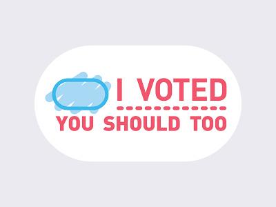 I Voted Sticker vote illustrator gray din election sticker blue white red