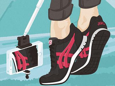 ASICS Tiger Key Visual poster illustration onitsuka asics selfiestick selfie iphone shoes sneakers