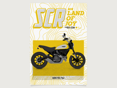 Poster Scrambler Ducati Icon typography vectorial vector illustration cafe racer yellow poster scrambler ducati motorcycle motorbike bike