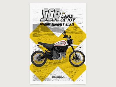 Poster Scrambler Desert Sled cross desert typography vectorial vector illustration poster scrambler ducati motorcycle motorbike bike