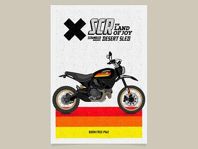 Scrambler Desert Sled Black Edition Poster typography vectorial poster motorcycle motorbike ducati black bike scrambler