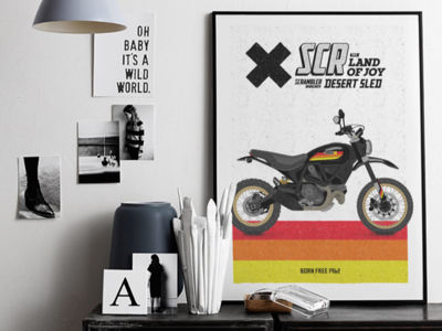 How it looks - Scrambler Desert Sled Black Edition Poster scrambler frame poster racer motorcycle motorbike bike