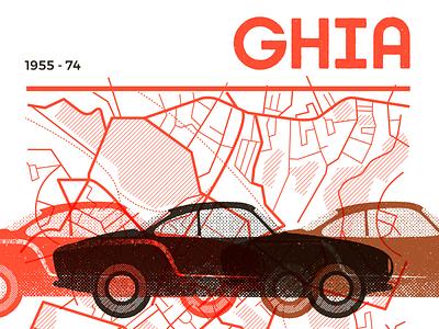 Karmann Guia transport vintage retro map vector car illustration