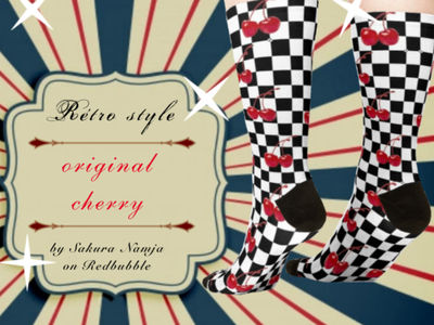 cherry sock classic nostalgia pattern froot eighteen product productdesign kawaii cute oldschool pinup cherry retro vintage logo cute art design illustration digitalart