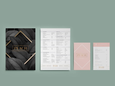 Service price list and bar menu for beauty studio branding design branding price table price range price list service list list golden gold foil design paper print design salon service luxury manicure beauty product beauty salon bar illustration design