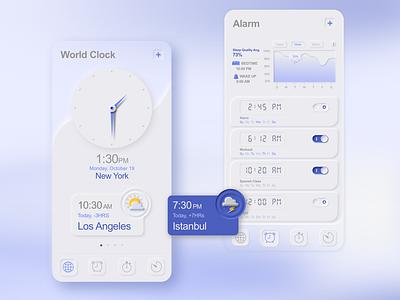 Skeuomorphism / Neumorphism UI Clock and Alarm skeuomorphism neumorphism ui mobile ui mobile design mobile mobile app illustration design art app adobe xd sketch