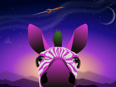 Dreamers illustration art illustrator graphicdesign purple spacex space rocketship zebra animal animals gradient graphic design graphics vector sketch ui illustration design art adobe xd