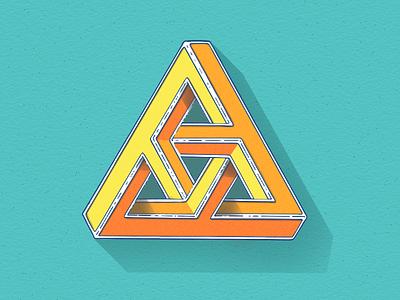 Penrose Triangle typography penrose triangle triangle mc escher illustration tobias hall puzzle geometry
