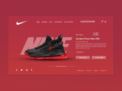 Nike :: PDP Layout redesign nike running nike air max nike shoes nike air nike website web minimal ux branding logo design
