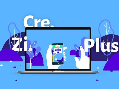 CRE.ZI.PLUS community card illustration animation mockup landscape sharing uiux devices coworking motion graphics