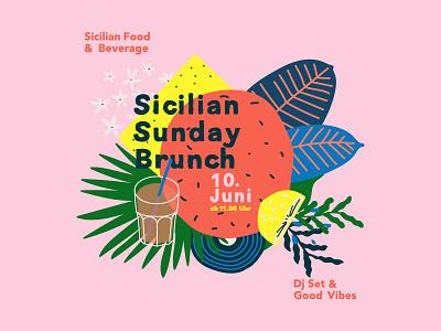 Sicilia Sunday Brunch - event - cover food illustration branding card post social festival brand identity strategy sicily palette