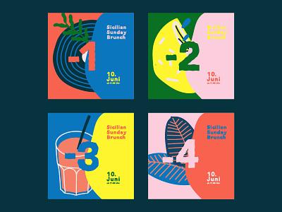 Sicilia Sunday Brunch - event - countdown art direction illustration identity branding sicily palette colorful food summer festival event social content brand identity