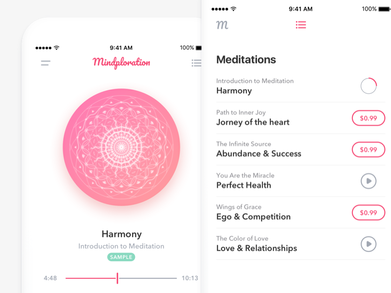 Meditation App - Music Player and Playlist by Roman Malashkov on
