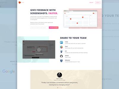 Screenshot Tool Landing Page magenta light screenshot site web page landing