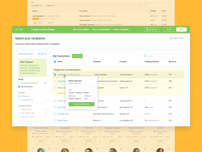 Create a Price List contacts list commodity app web ui pricelist