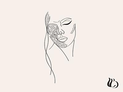 Sugar Skull Woman Line Illustration halloween minimalism line drawing design hand drawn line art illustration