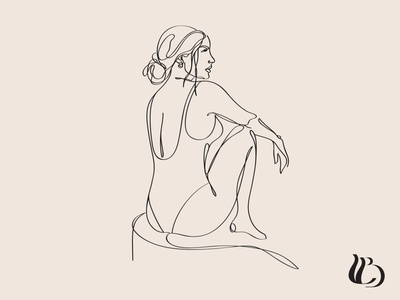 Illustration for Rising Sun Clay Co hand drawn female body female vector line drawing minimalism logo line art design illustration