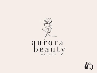 Aurora Beauty Salon Logo Design branding logo line drawing typography minimal logodesign identity design line art illustration