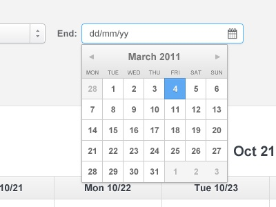 Shift calendar addpanel