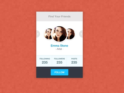 Your Friends design ui widget web flat profile message freebie psd rebound