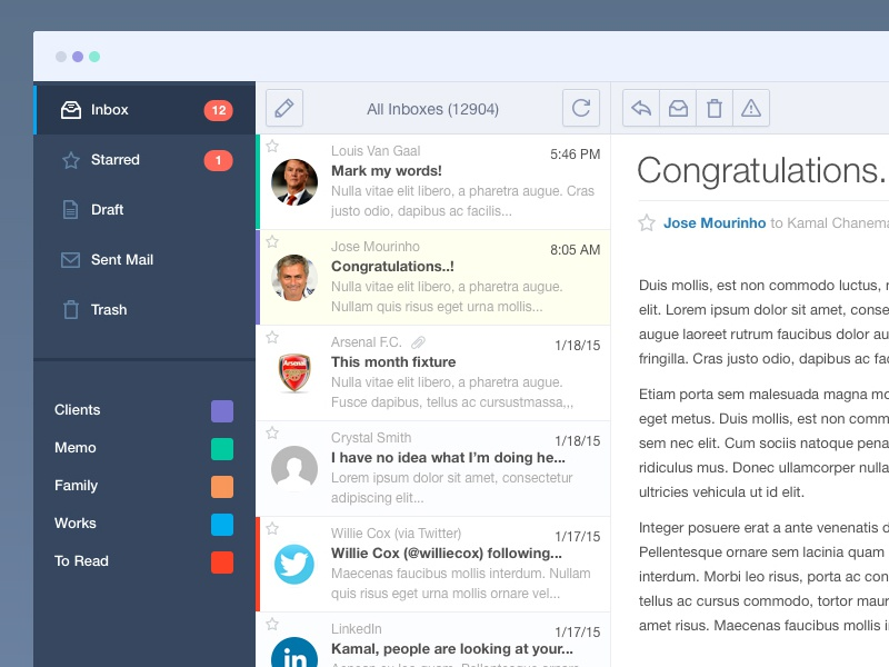 Mail App ui flat app web application clean email mail minimal psd free photoshop