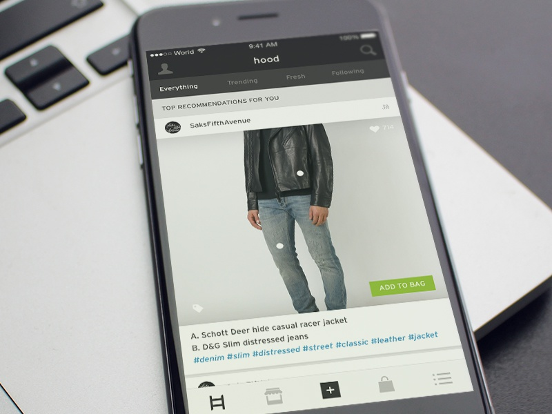 Social Shopping App feed minimal clean light dark ecommerce ui mobile ios shop