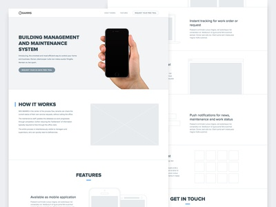 Landing page Wirefame wireframe ui web landing page greyscale simple clean minimial