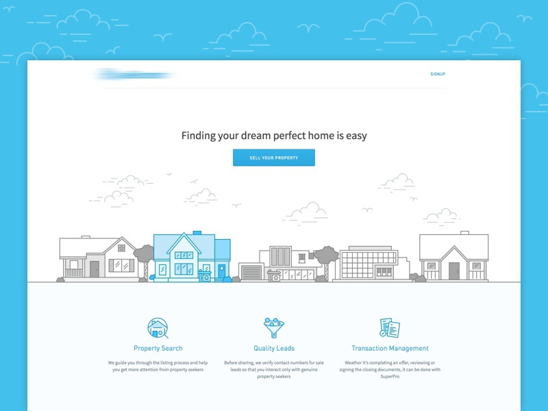 Landing page real estate property simple landing page web grey white blue icon illustration
