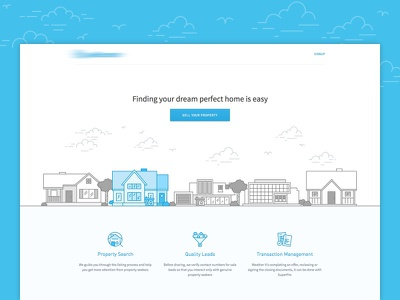 Landing page real estate property simple landing page web grey white blue icon illustration