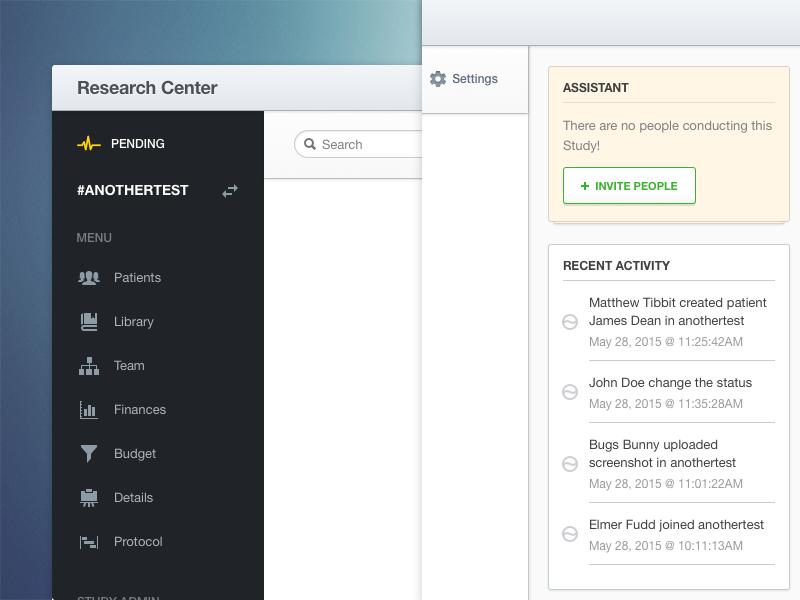 Research Center Dashboard navigation sidebar green light white icon ui app webapp dashboard