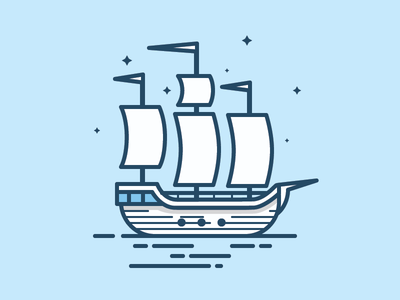 Pirate Ship outline line icon vector ocean water sea pirate illustration boat ship