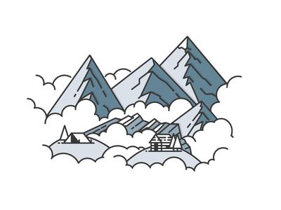 Landscape design line simple icon illustration vector clouds mountains landscape
