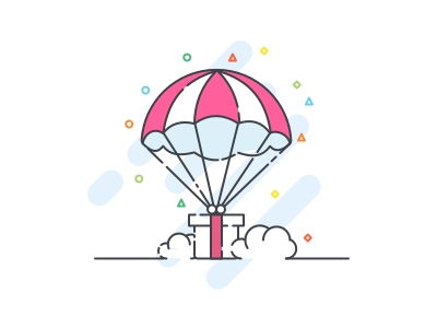 Gift box Illustration outline parachute reward line cloud box gift iconography illustration