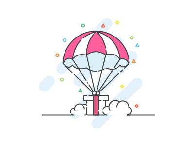 Gift box Illustration outline parachute reward line cloud box gift iconography illustration