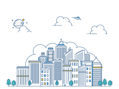 City Skyline illustration vector space lines cities buildings outline line stroke skyline flat city