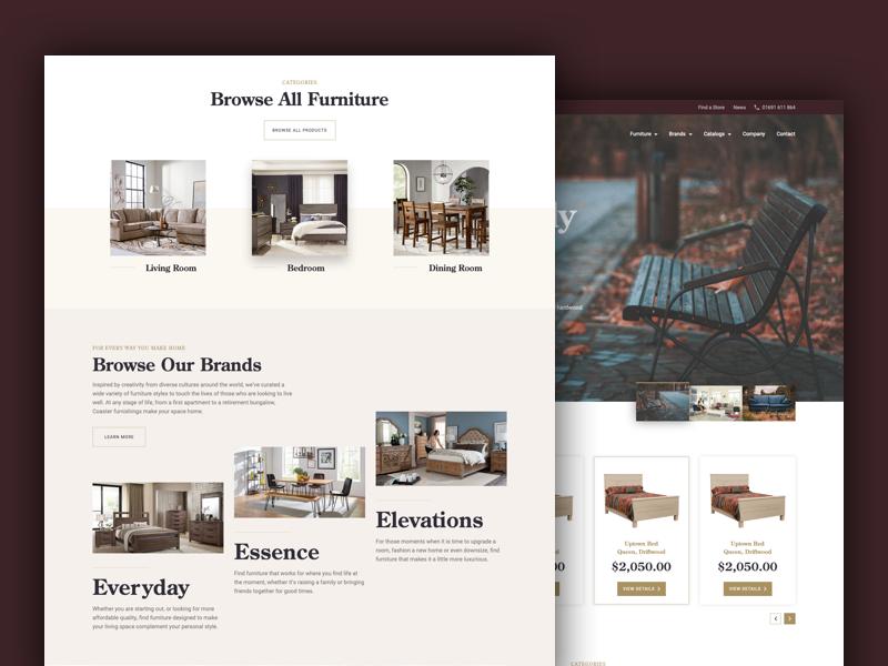 Hardwood Furniture Company furniture brown web design website design web simple clean ui