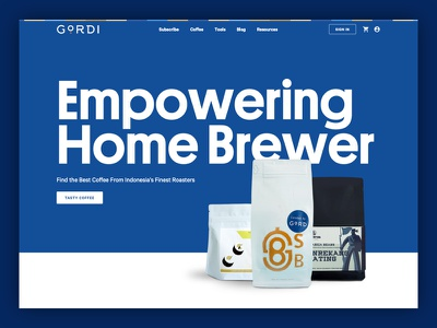 Coffee Roaster - Brewers and Subscriptions webdesign minimal packages type landing app hero web design ux font interface blue typography ui coffee website design web