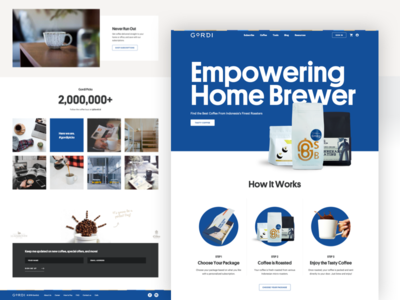 Gordi - Coffee Roaster, Brewers and Subscriptions simple clean website web design webdesign web ux ui typography type package minimal landing interface hero font design coffee blue app