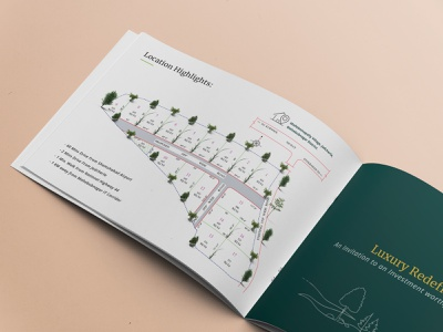 Communication Designs For A Luxury Farm Villas Project design process real estate layout design storyboarding brochure layout brochure design flat design branding communication design