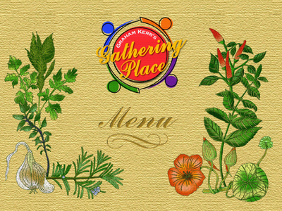 Gathering Place Menu logo typography illustration design